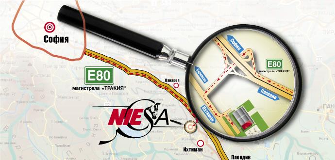 Карта с местоположение на Конна база Ниеса